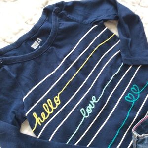 4/$15! EUC~Crazy8 | Boat neck embroidered tee | 2T